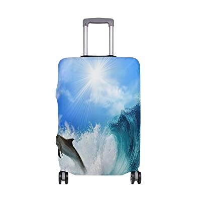 Sea Dolphins Luggage Cover Elastic Suitcase Protector Fits 18-32 Inch
