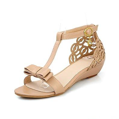 Ankle Buckle Strap Bowknot Women Wedge Sandals Elegant Summer Open toe Dress Shoes