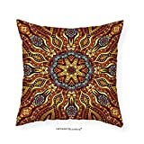 VROSELV Custom Cotton Linen Pillowcase India Ethnic Mosaic Like Kaleidoscope Design with Floral Swirls Image for Bedroom Living Room Dorm Brown Blue Yellow and Marigold 24''x24''
