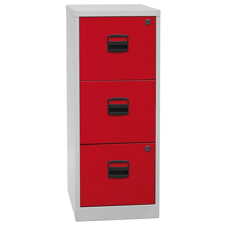 Bisley Home Hängeregistraturschrank PFA, 3 HR-Schubladen, Metall, 506 Korpus Lichtgrau, Fronten Kardinalrot, 40 x 41.3 x 101.5 cm
