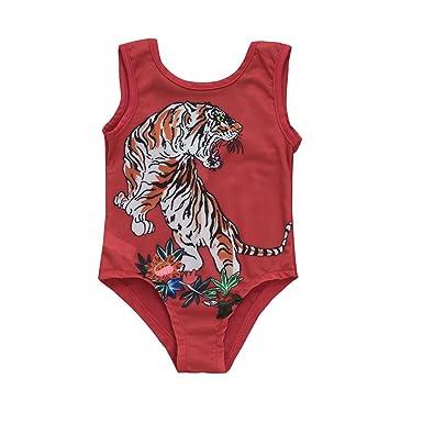 f697cc6cf5515 Kids Baby Girls Summer Red Swimsuit Cartoon Tiger One Piece Bathing Bikini  Swimwear (6M(