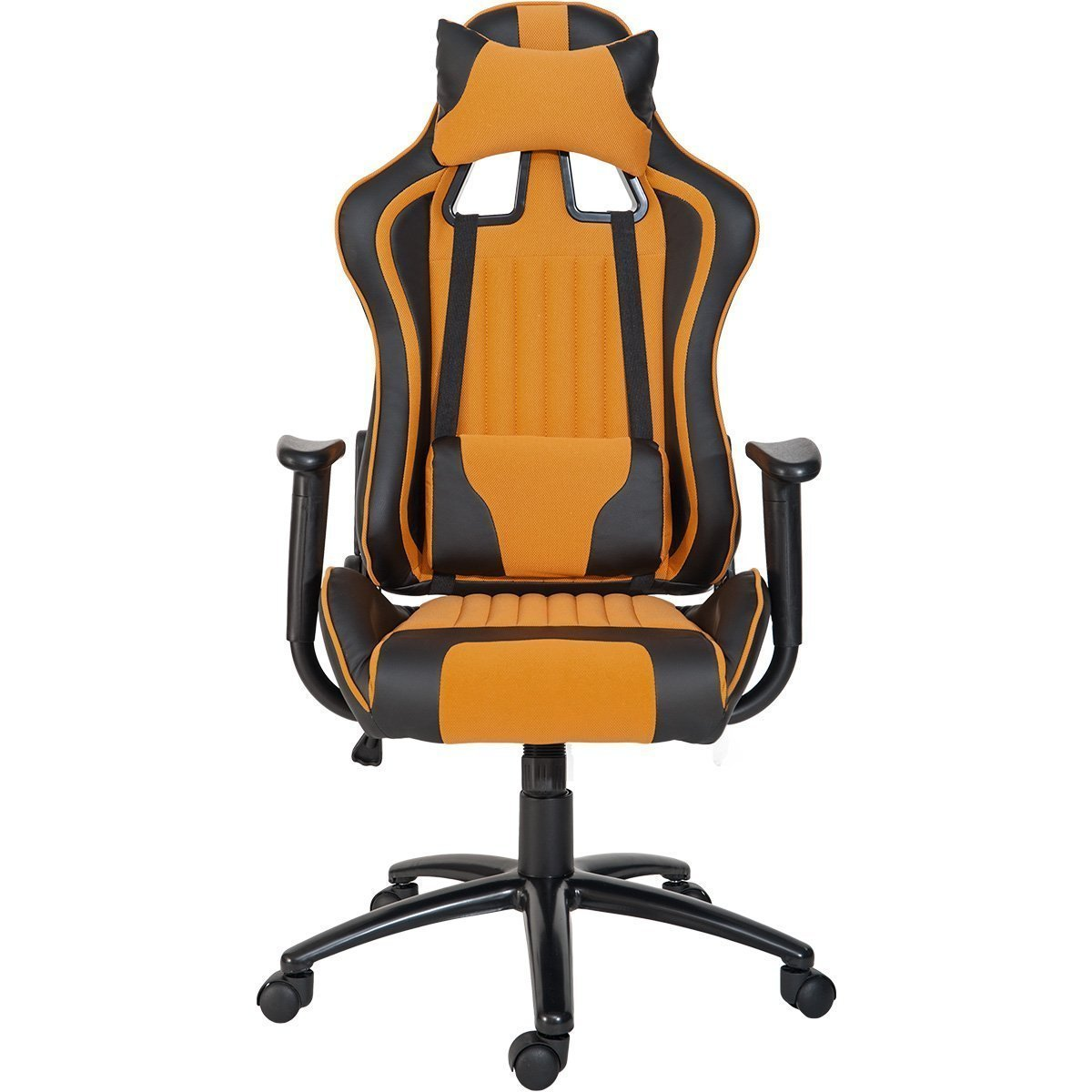 ModernLuxe Odyssey Series Executive Gaming Chair with Adjustable Lumbar Support and Headrest in Soft PU Leather and Mesh Fabric (Orange)