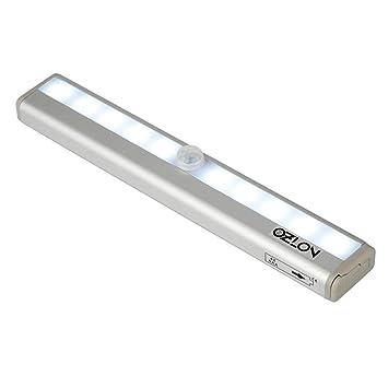 ozlon 10 LED Gabinete Luz, super brillante carcasa de aluminio Sensor de movimiento inalámbrico con