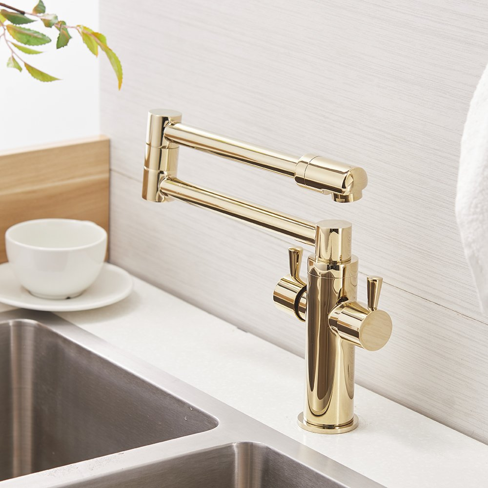 OWOFAN Foldable Swivel Kitchen Sink Faucet Extent Long Spout 2 Handle Hot and Cold Water Mixer Taps, Brass Gold 9912K