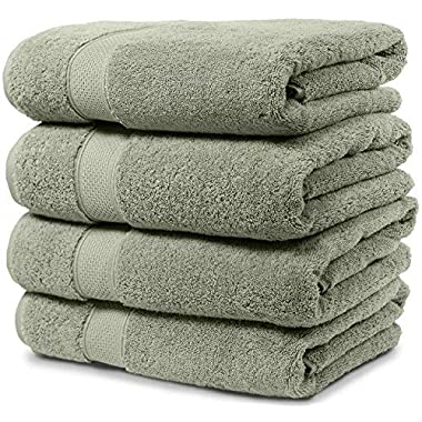 Maura 4 Piece Bath Towel Set. 2017 Premium Quality Turkish Towels. Super Soft, Plush and Highly Absorbent. Set Includes 4 Pieces of Bath Towels (Bath Towel - Set of 4, Sage Green)