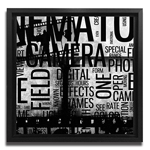 Collage Floater Frame (JP London Ready to Hang Made in North America Art Framed 1.5in Thick Gallery Wrap Canvas Wall Cinematography Collage Retro Film Abstract 18in SQSFCNV2198)