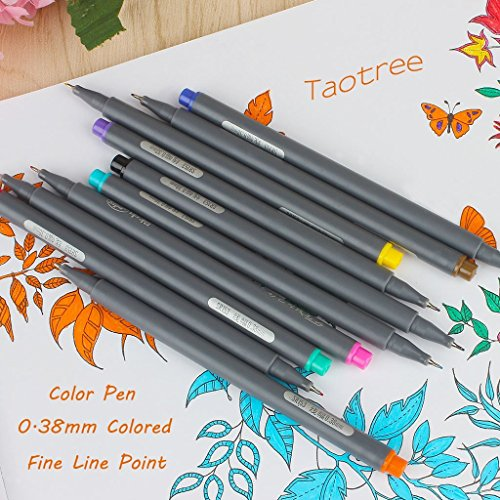 Fineliner Color Pen Set, Taotree 0.38mm Colored Sketch Drawing Pen, Porous Fine Point Markers for Bullet Journaling and Note Taking, 10 Assorted Colors by Taotree (Image #4)