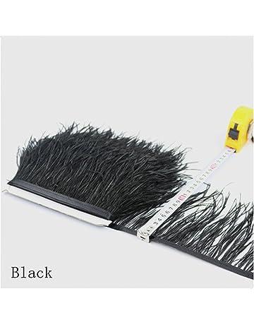 Flecos de plumas de avestruz de 34 colores para hacer sombreros o vestidos negro