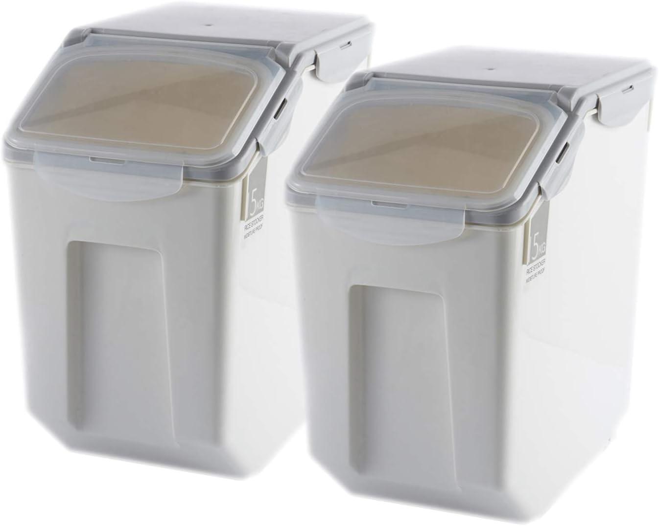 Grain Rice Storage Bin Food Containers Set Leak Proof Locking Lid, Large Storage Boxes Plastic Cereal Pet Food 15kg(18L), Grey,2packs