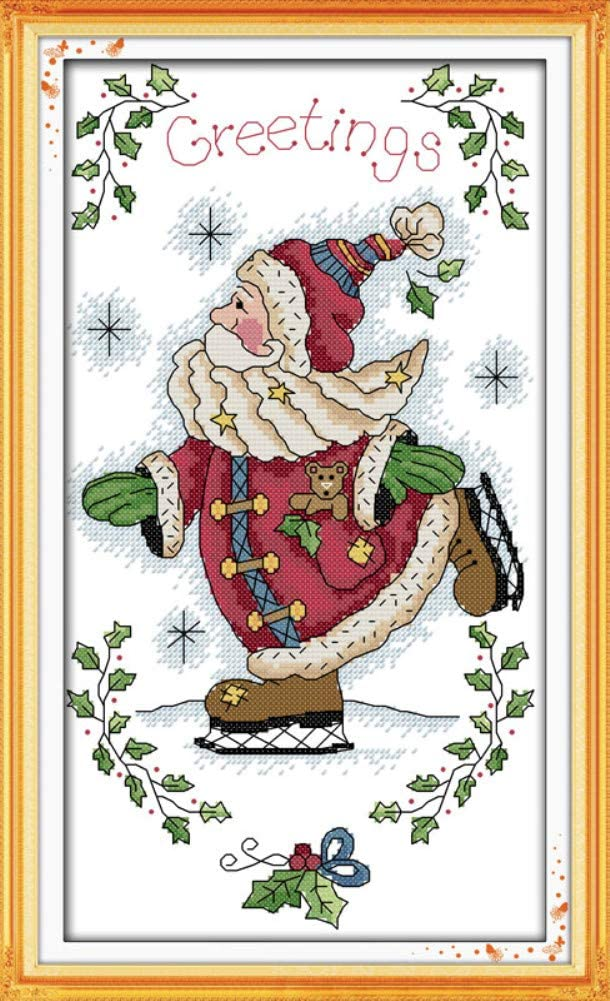 Awesocrafts Christmas Owls Easy Patterns Cross Stitching Embroidery Kit Supplies Christmas Gifts Cross Stitch Kits Owls, Stamped Stamped or Counted