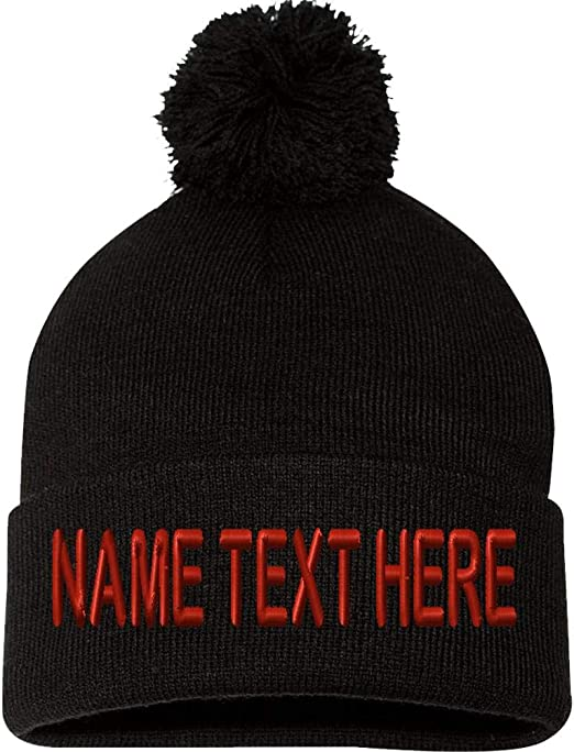 Custom Personalized Embroidered Cuffed Knitted Beanie Hat Any Text//Colour