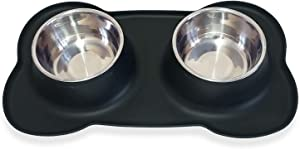 Petek Double Dog Cat Feeder Bowls Stainless Steel Food and Water Bowls with No Spill Non-Skid Silicone Mat, Double Pet Bowls (27oz Each) Set for Dogs Cats, Black