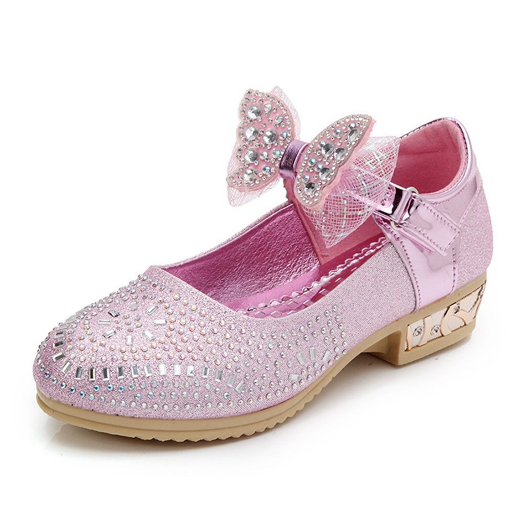 CYBLING Kids Girls Mary Jane Glitter Bow Low Heels Princess Dress Shoes Wedding Party Shoes