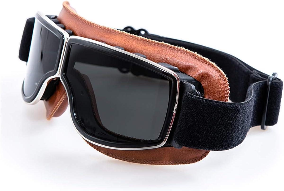 Evomosa Motorradbrille Motorräder Retro Pilot Nebelsichere Brille Atv Bike Motocross Brille Schutzbrille Auto