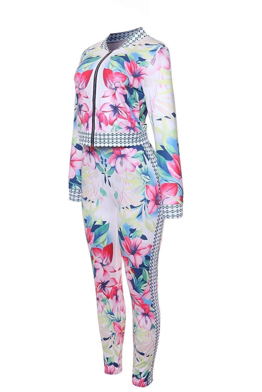FOUNDO Womens Hawaii Floral 2 Piece Set Tracksuit Sports Joggers Jacket Suit