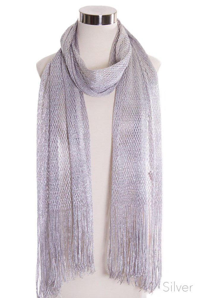ScarvesMe Women's Fashion Metallic Net Fringe Oblong Scarf (Silver)