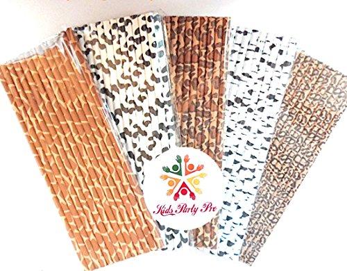 Party Paper Straws, Black Cow Zebra Brown Cheetah Giraffe Leopard Animal Print Paper Drinking Straws Bulk, Jungle BBQ Birthday Cake Pop Sticks ()