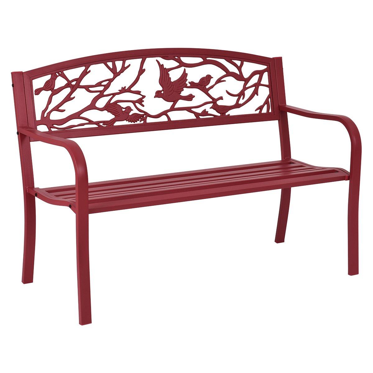 Amazon com giantex patio garden bench park yard outdoor furniture cast iron porch chair red garden outdoor