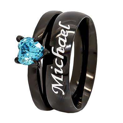 Amazon Com Custom Engraved Black Plated Wedding Ring Set Blue Heart