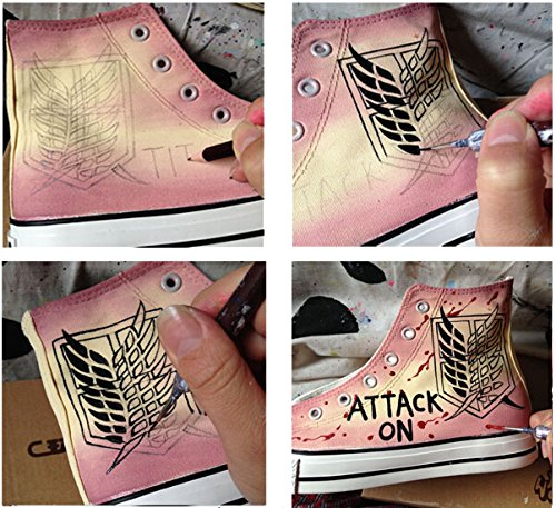 Attack On Titan Shingeki No Kyojin Cosplay Zapatos Zapatos De Lona Zapatos Pintados A Mano Sneakers Golden Badge