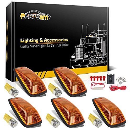 Partsam 5X 264159AM 5-5050-SMD T10 194 Amber LED Cab Marker Roof Running Lights + Wiring Pack Compatible with Chevrolet/GMC C1500 C2500 C3500 K1500 K2500 K3500 1988-2002 Pickup Trucks