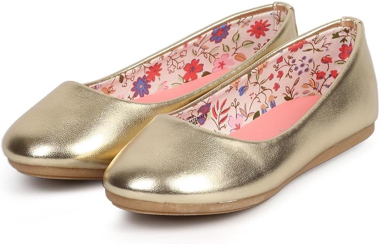 Toddler//Little Girl//Big Girl Size: Little Kid 2 Metallic Round Toe Classic Slip On Ballerina Flat DC41 Gold
