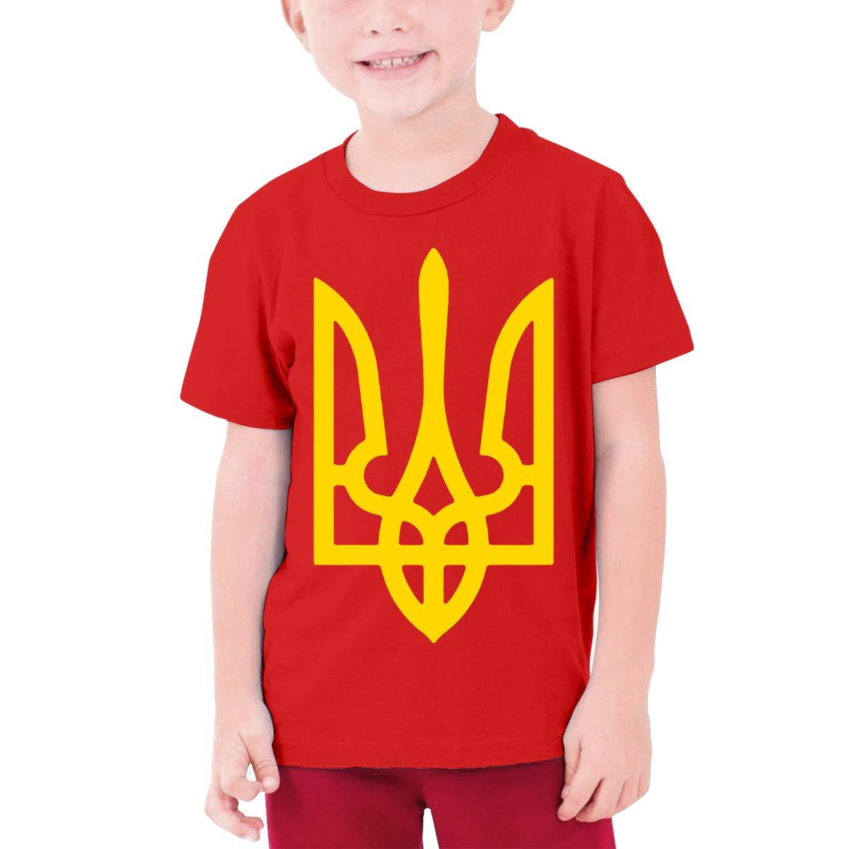 Retro-Feel Ukrainian Coat of Arms Boy Boys Girl Teens Short Sleeve CottonRound NeckTees Fashion Cute T Shirt Unisex
