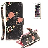 iPod Touch 5th/6th Case Magnet Flip Wallet Case Stand Function [with Free Screen Protector], Funyye Premium Luxury Colored Patterns PU Leather Wallet Folio Skin with Magnetic Closure Built-in Credit Card Slot and Soft Silicone TPU Bumper Case Cover for Apple iPod Touch 5th/6th Generation - Dandelion and Flowers