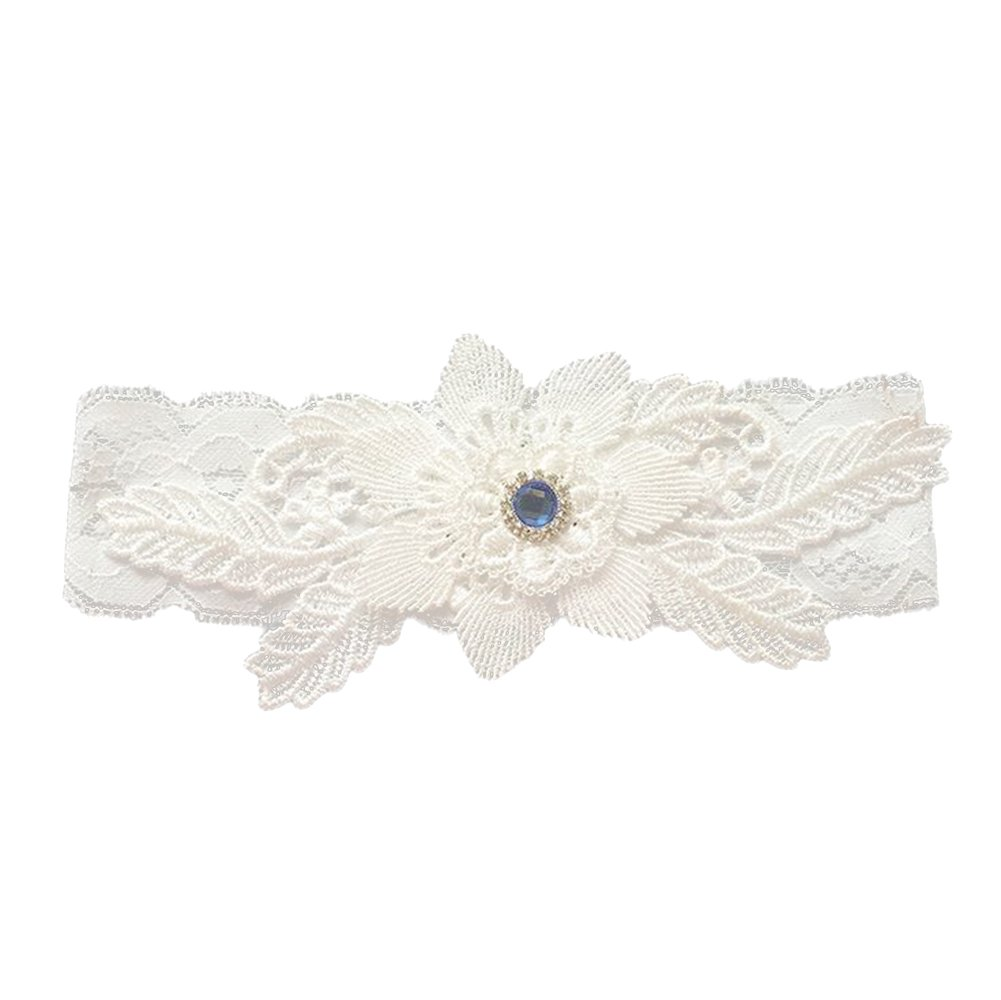 LAMEIDA Lace Garter for Bride Leg Belt Wedding Dress Accessories with Rhinestone Decoration Ivory