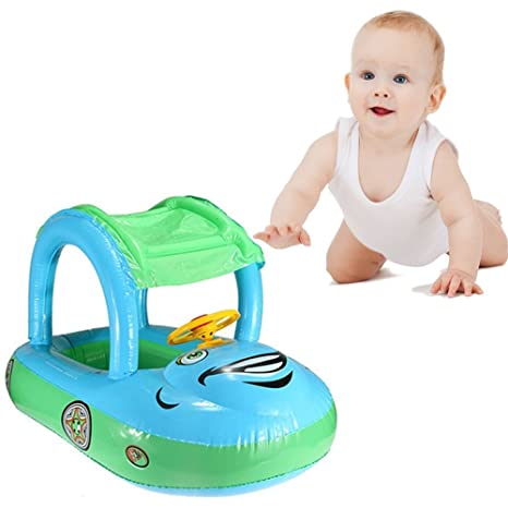 eonkoo verano bebé piscina flotador asiento barco hinchable natación anillos PVC tela pato/Cuerno Coche