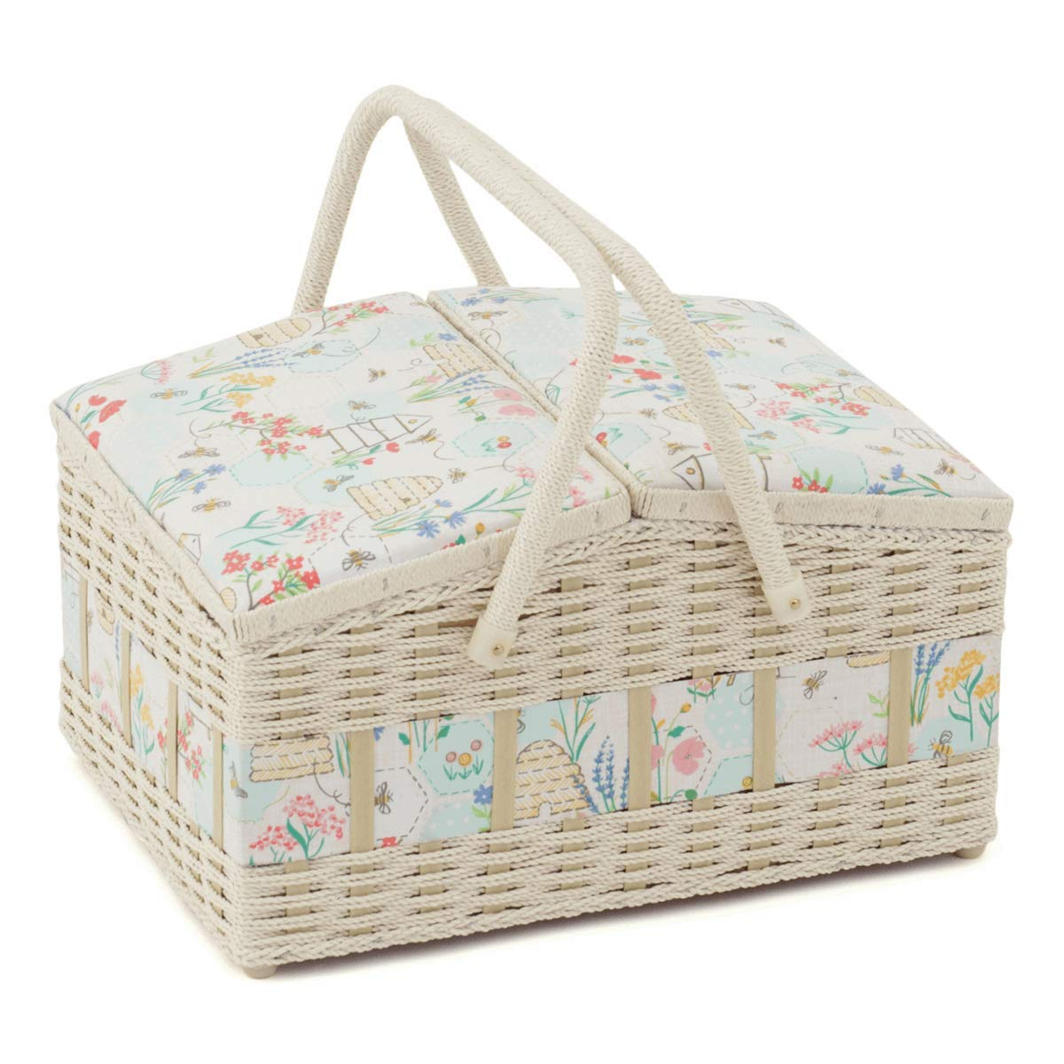 Hobby Gift Double Lid Sewing Box Sewing Bee Design - Box Size: (D/W/H): 26 x 35 x 20cm by Hobby Gift