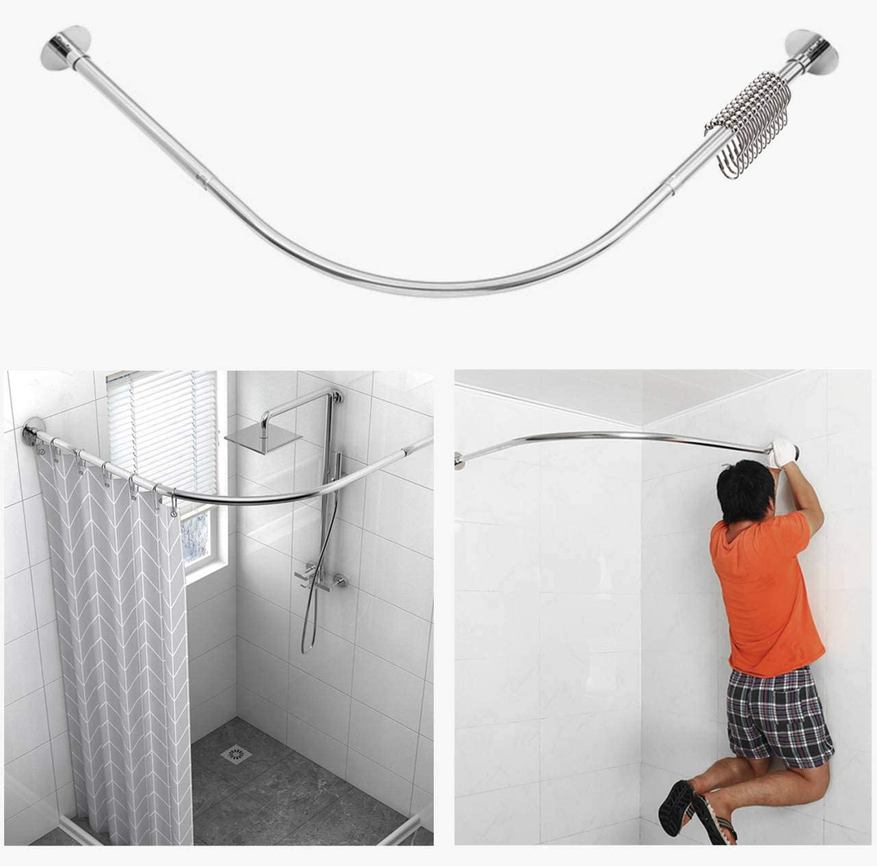 tanxih corner shower curtain rod adjustable stainless steel l shaped rack drill free install for bathroom bathtub clothing store 35 5 51 2 x