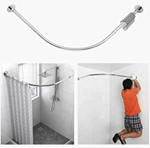 """Tanxih Corner Shower Curtain Rod Adjustable Stainless Steel L Shaped Rack Drill Free Install for Bathroom, Bathtub, Clothing Store (35.5""""-51.2"""" x 35.5""""-51.2"""")"""
