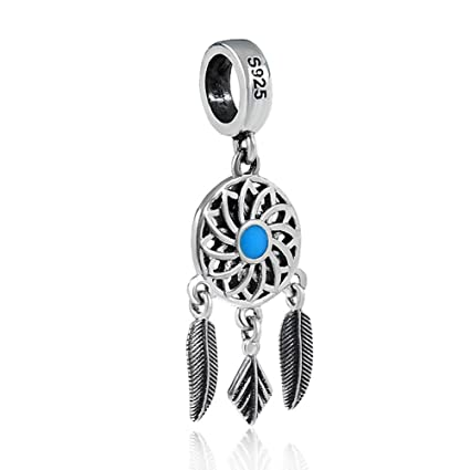 62ccc2608 Image Unavailable. Image not available for. Color: Blue Dreamcatcher Charm  with Feather 925 Sterling Silver ...