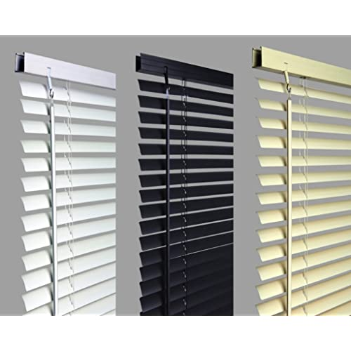 umlout 120cm BLACK Pvc Venetian Blinds, AVAILABLE IN 10 SIZES AND 3 COLOURS  .Buy