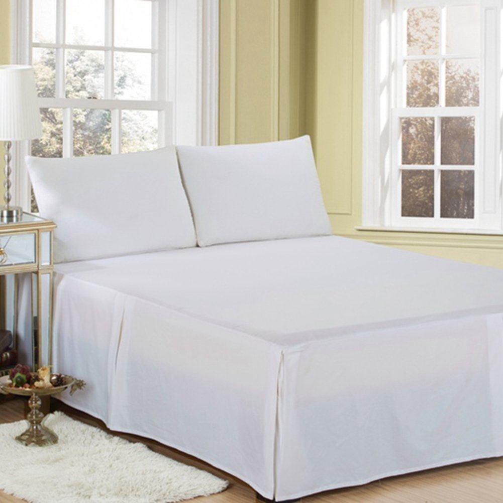 KIM DECO Egyptian cotton Bed skirt,Absorbent Valance sheet Bed cover Pleated Coverlets Skin-friendly In white Beige 18 drop Gathered style Queen Double-beige 150x200cm 59x79inch