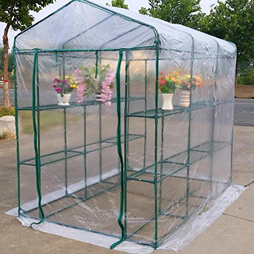 MTB Outdoor Portable Walk-In Garden the Greenhouse 2 Tiers 12 Shelves with PVC Cover - 84Lx56Wx77H by MTB