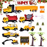 Matchbox Cars Construction Vehicles Trucks Playsets for Boys Tough Construction Toy Set for Kids with Diggers, Mixing Truck, Construction Truck, Helicopter, Tow Truck, Semi Truck and Accessories 16pcs