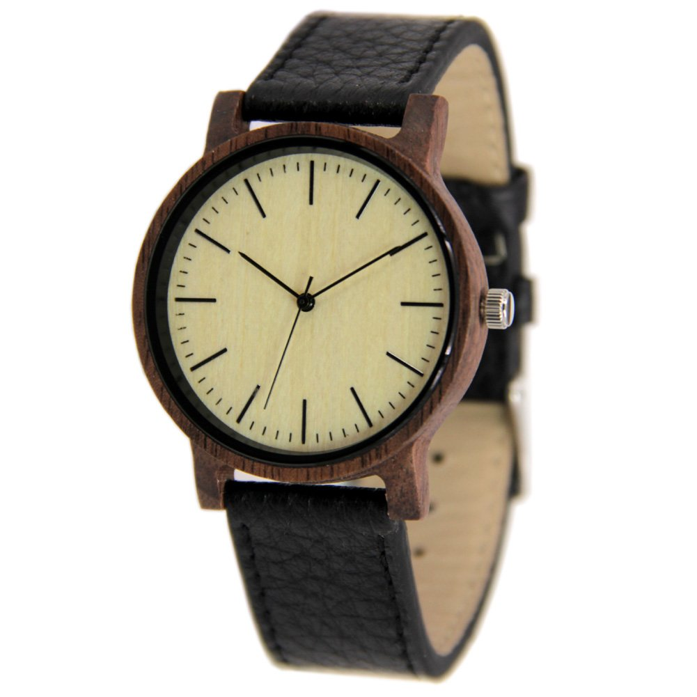 Unisex Wooden Watches Casual Walnut Wristwatch Gift to Him and Her