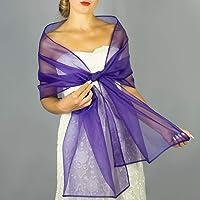 Chal organza color lavanda lila violeta violet novia boda accesorio de fiesta
