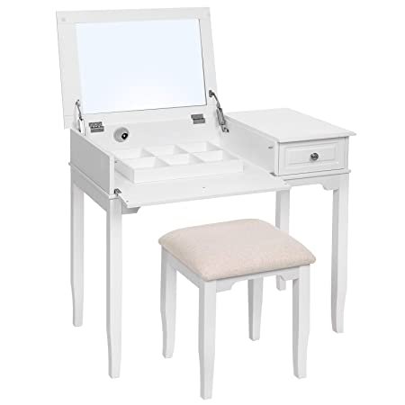 newest d4b5a d0b70 SONGMICS Modern Dressing Table with Large Flip-top Mirror, Vanity Set with  Solid Wood Legs, Removable Compartment, Stool and 1 Drawer, for Bedroom, ...