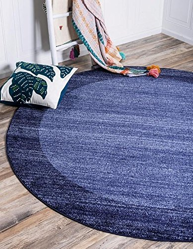 Blue 6' Round Area Rug (Unique Loom Del Mar Collection Navy Blue 6 ft Round Area Rug (6' x 6'))