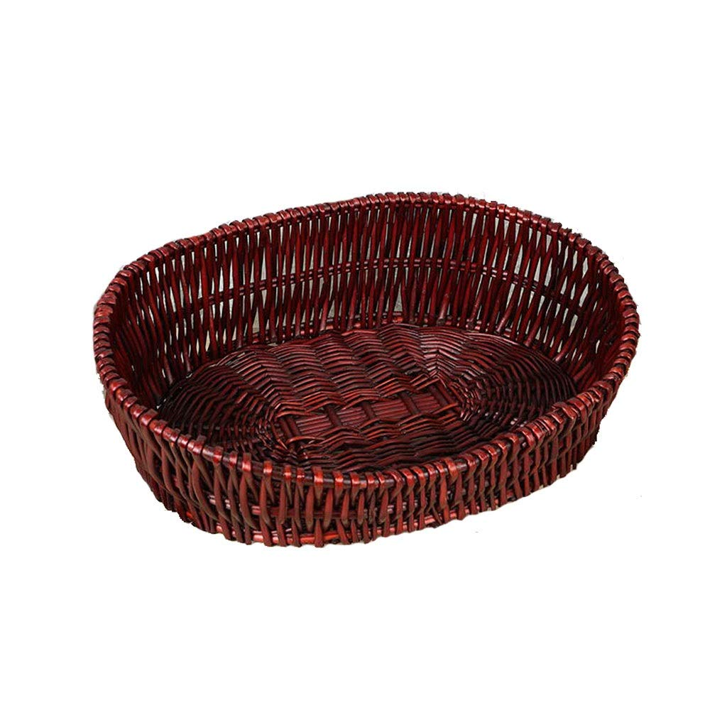 A MediumB&F Rattan Cat Litter, Cat House Cat Cage Rattan Wicker Kennel Pet Nest Summer Season Universal Removable And Washable (color   A, Size   M)