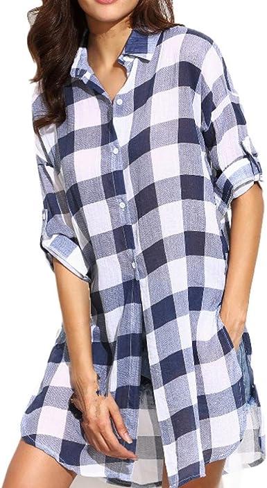 Vovotrade - Las Mujeres Camisa a Cuadros de Manga Larga Clásico Pagado Cristal Comprobar Negro Blanco: Amazon.es: Ropa y accesorios