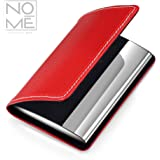 NOMĒ Professional Business Card Wallet, Premium Bicast Leather and Stainless Steel Card Holder, Slim, Minimalist, Curved Hard Case with Magnetic Clasp – Red