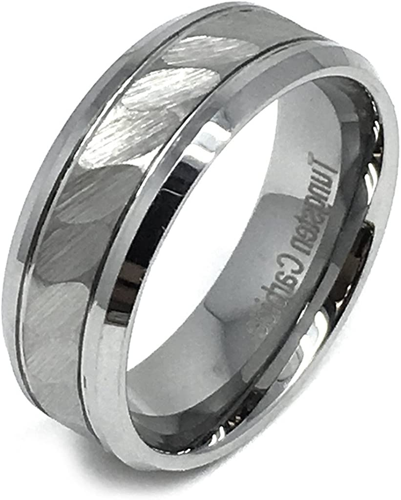 Black Ion-plated Brushed Finish Center Rose Gold IP Rope Inlay Comfort Fit Tungsten Ring Wedding Anniversary Engagement 8mm