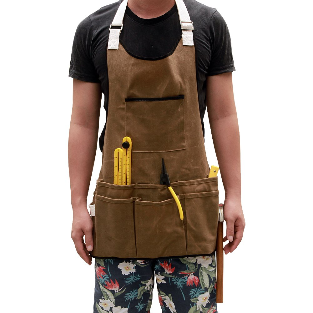 Waxed Canvas Workshop Tool Apron Garden Apron with Pockets Adjustable Neck Strape Waterproof Protective Cargo Apron Fit for Adult Men & Women HSW-72
