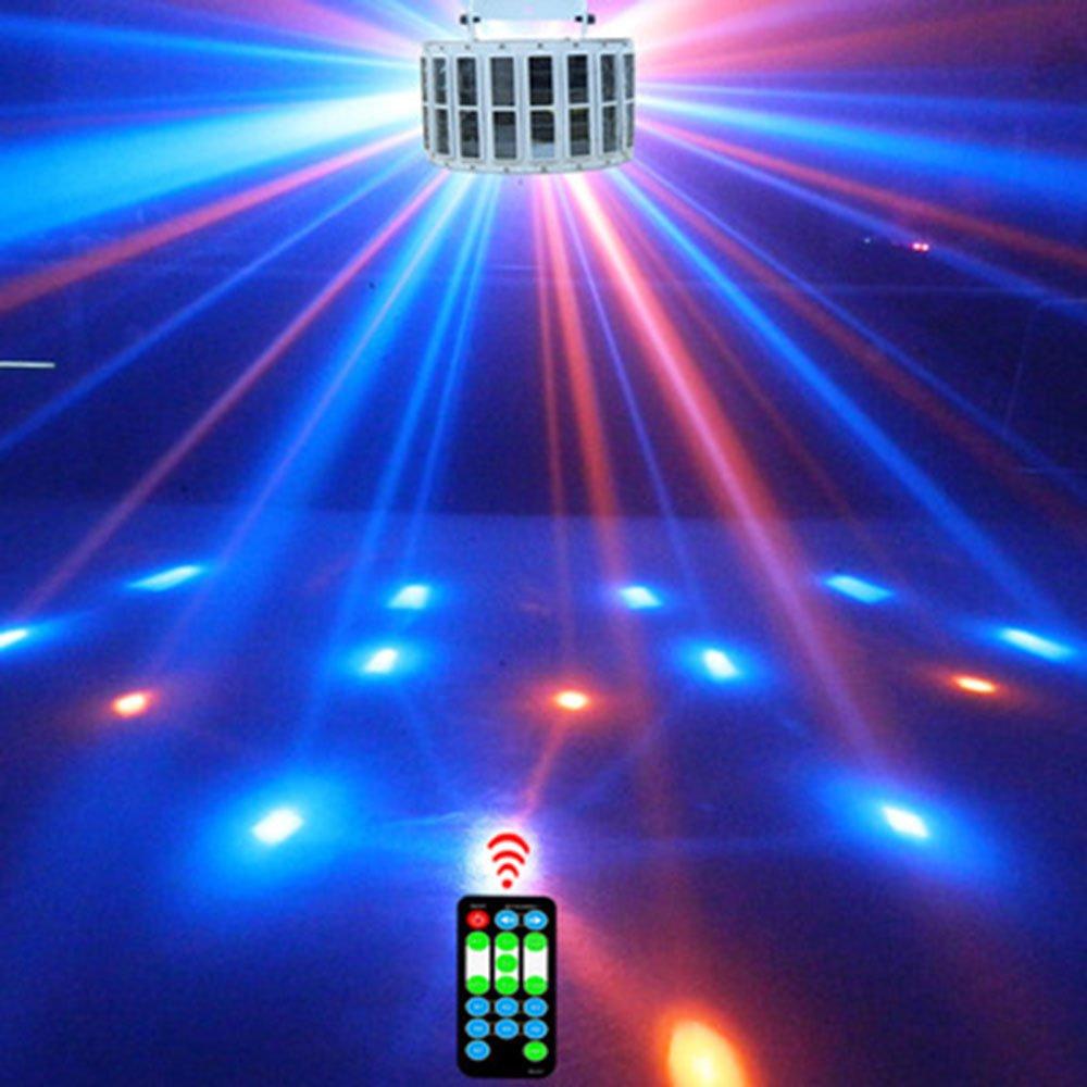 Discokugel LED Party Lampe Beleuchtung 9 Farben DJ Licht mit Fernbedienung Disco Party Lichter Musik und Stimme Steuerung Bühnenbeleuchtung Effektlicht für Weihnachten Party Deko Club Bar Geburtstag