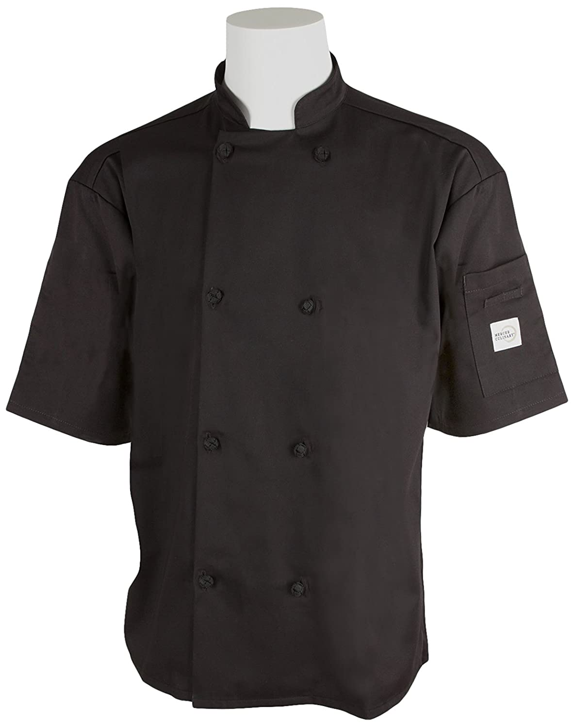 3X-Large Mercer Culinary M61022BK3X Genesis Mens Short Sleeve Chef Jacket with Cloth Knot Buttons Black