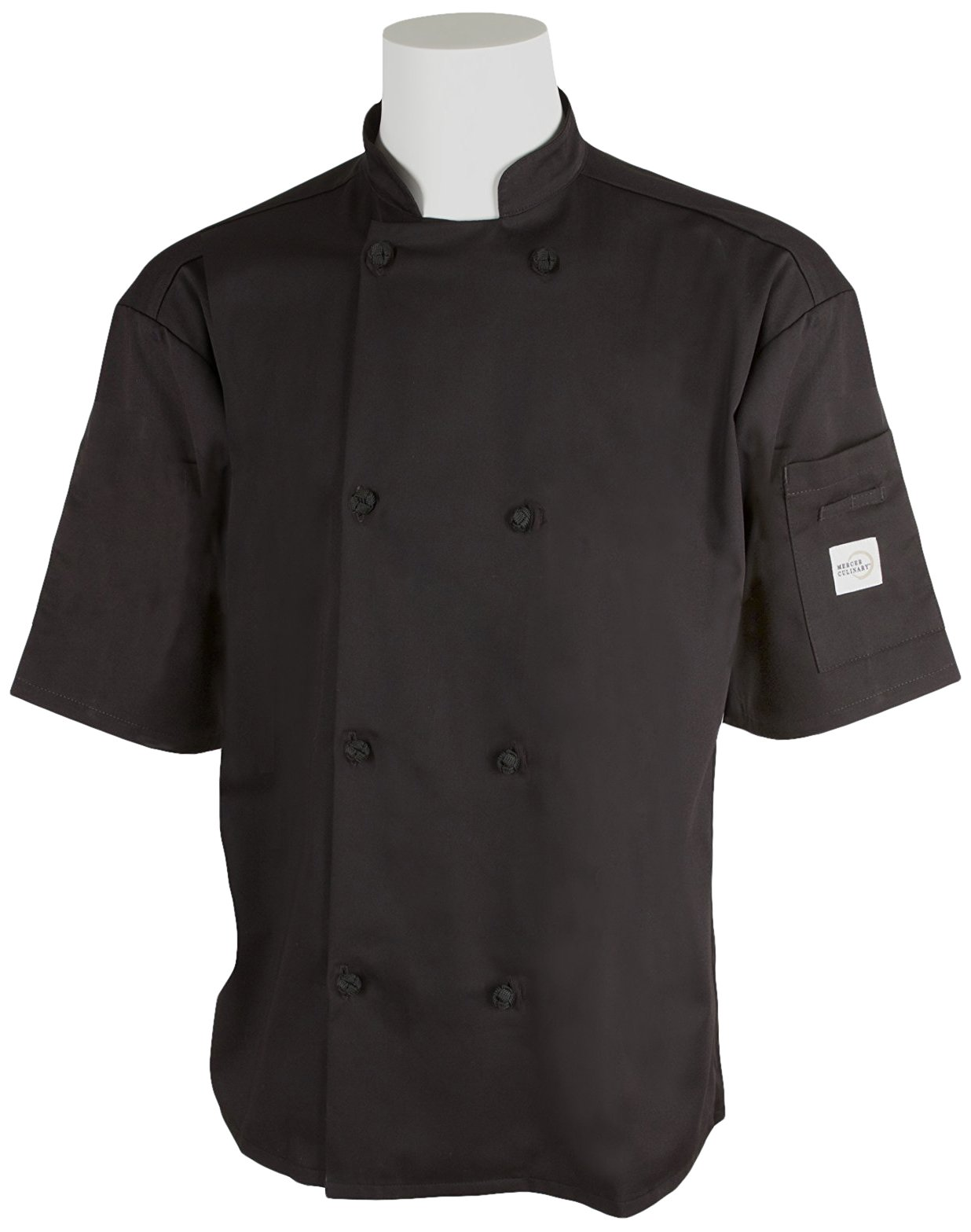 Mercer Culinary M61022BK3X Genesis Men's Short Sleeve Chef Jacket with Cloth Knot Buttons, 3X-Large, Black